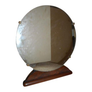 Round Art Deco Bureau Top Mirror