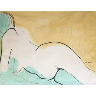 Mid-Century Abstract Nude Watercolor