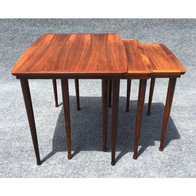 Danish Modern Rosewood Nesting Tables - Image 3 of 6