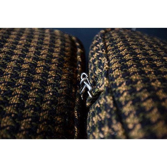 Monteverdi-Young Mid-Century Black Mustard Wool Herringbone Sofa - Image 6 of 7