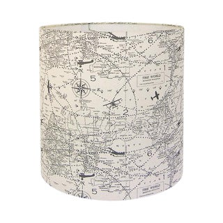 Premier Prints Air Traffic Maps Natural Gray Custom Drum Custom Lamp Shade