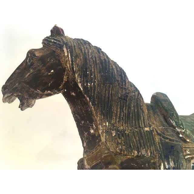 Image of Hand Carved Painted Wooden Horse