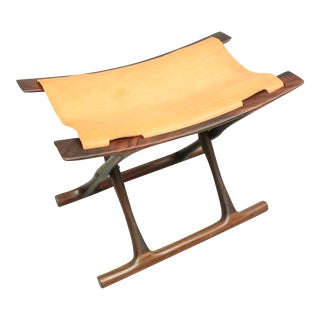 Egyptian Stool by Ole Wanscher with Tan Leather - Danish, Mid-Century Modern