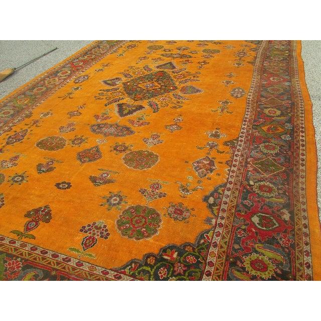 Antique Persian Orange/Green Oushak Style Rug - Image 8 of 9