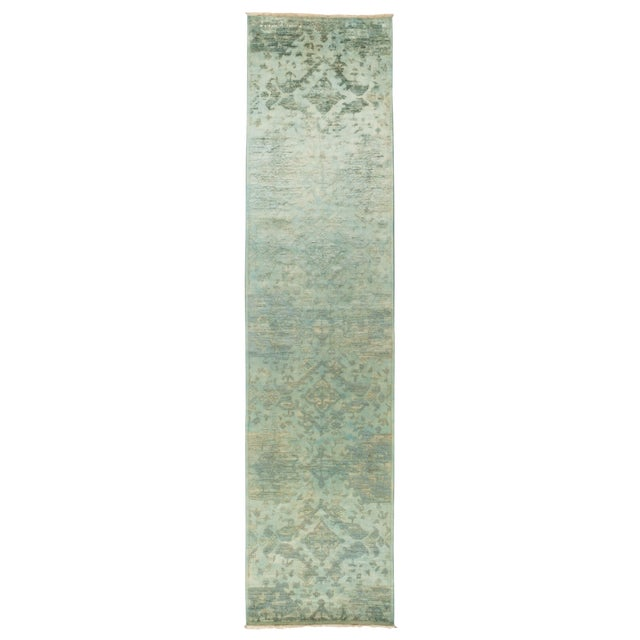 """Image of Over-Dyed Hand Knotted Runner - 3' X 12'7"""""""