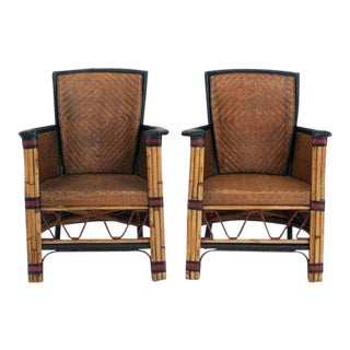 Pair of Rare Woven Cane Armchairs with Painted Backs