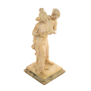 19th Century Two Playful Maidens Alabaster Sculpture