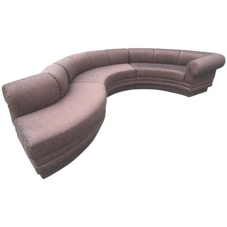 Vladimir Kagan Style Three Piece Sectional Serpentine Sofa