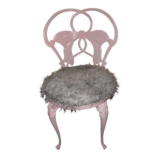 Pink Wrought Iron Bow Accent Chair