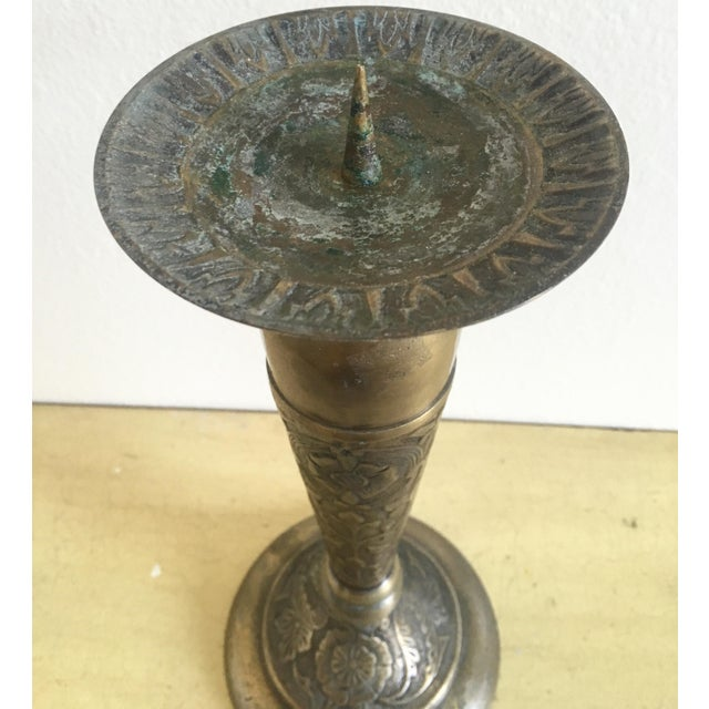 Tall Solid Brass Floral Candle Stick - Image 5 of 9