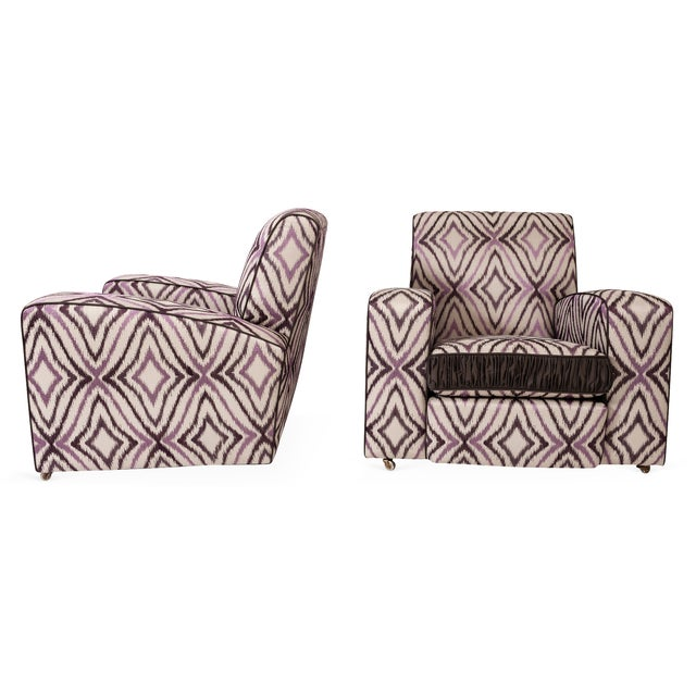Art Deco Ikat Silk Fabric Club Chairs - A Pair - Image 3 of 4