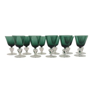 Emerald & Clear Goblets -Set of 11