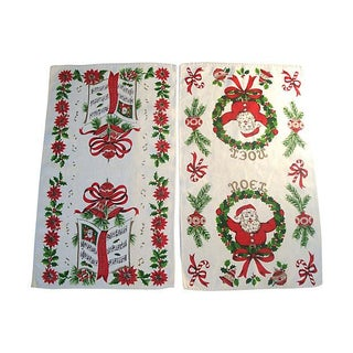 Vintage Christmas Linen Tea Towels - 2