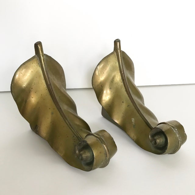 Vintage Brass Feather Leaf Bookends - Image 3 of 10