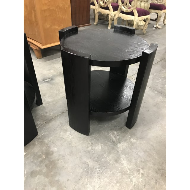 French Art Deco Solid Ebonized Cerused Oak Coffee Tables - A Pair - Image 3 of 11