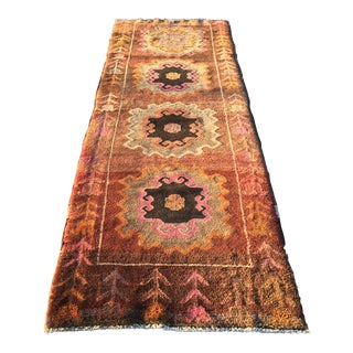 "Vintage Turkish ""Funnky"" Oushak Runner - 3'4"" X 9'4"""
