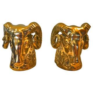Cast Brass Big Horn Ram Bookends