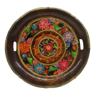 Vintage Hand Painted Wooden Platter