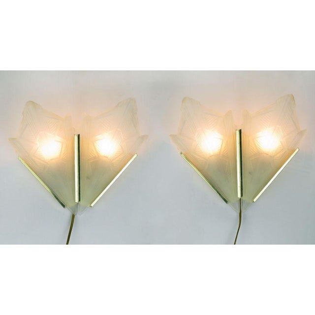 Art Deco Style Brass & Frosted Glass Slip Shade Sconces - Image 4 of 4