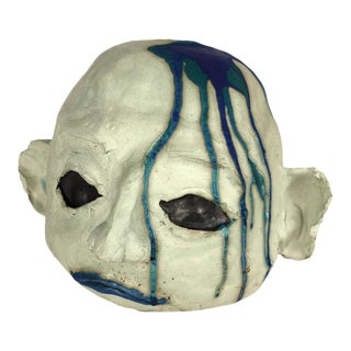 Large Ceramic Alien Head in Blue Tones