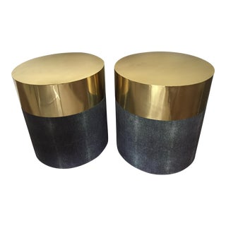 Made Goods 'Maxine' Shagreen Side Table - A Pair