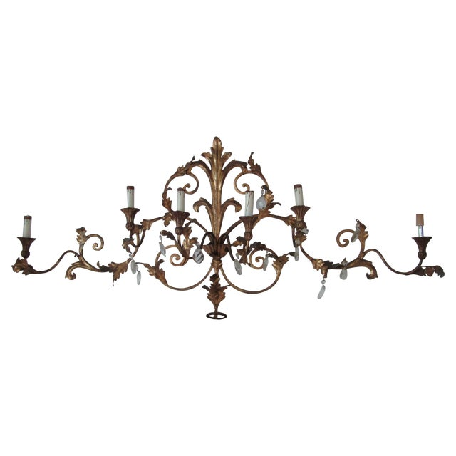 Antique Gold French Luciano Leaf Sconce - Image 1 of 8