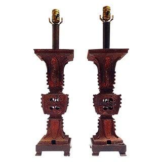 Qing Dynasty Iron Gu Vase Lamps - Pair