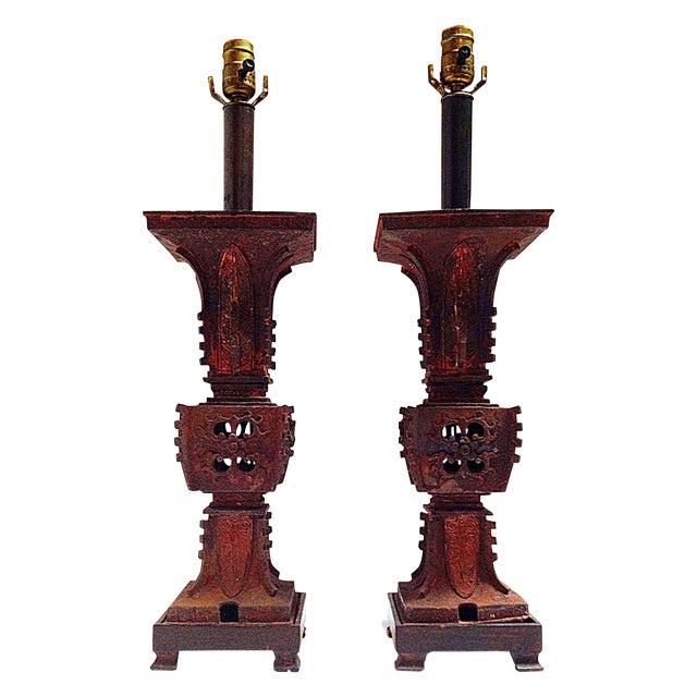 Image of Qing Dynasty Iron Gu Vase Lamps - Pair