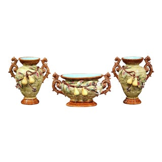 19th Century, French Three-Piece Set Barbotine Vases and Jardinière with Pears