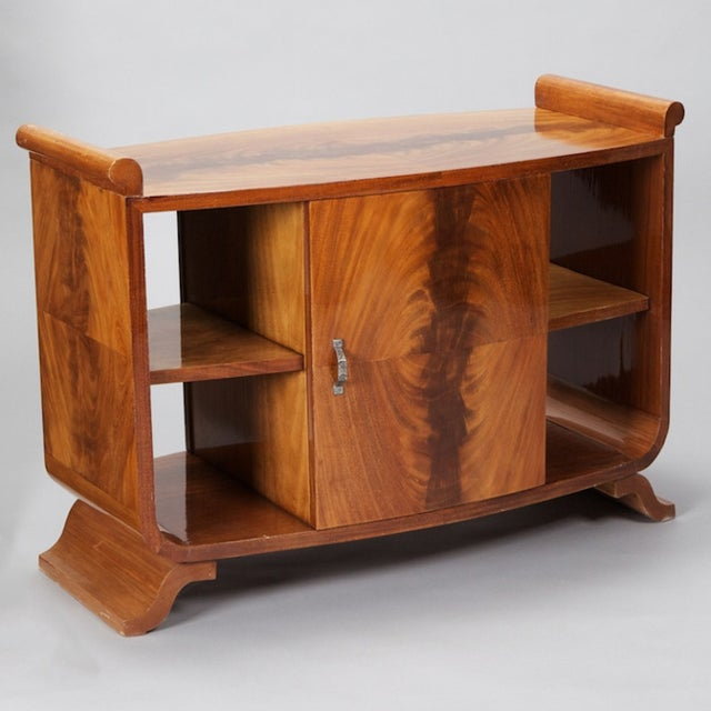 French Art Deco Burl Wood Side Table Cabinet - Image 3 of 8