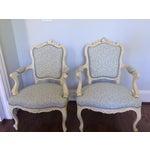 Image of Antique French Armchairs, Upholstered in Aqua - 2