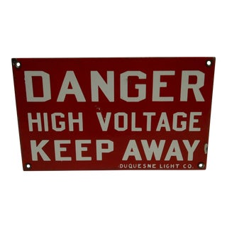 "Vintage Porcelain ""High Voltage"" Sign"