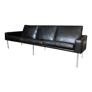 Hans J Wegner Black Leather Airport AP 34/3 Sofa, Denmark, 1960s