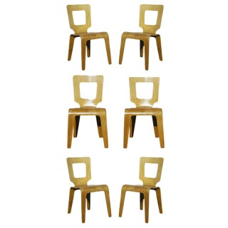 Rare Set of Six Bent Plywood Side Chairs by Thaden-Jordan Furniture