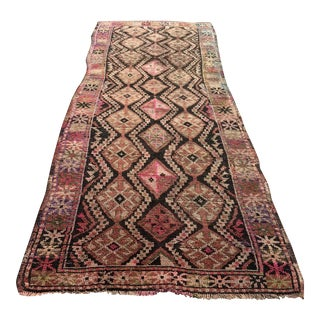 "Antique Turkish Oushak Runner - 3'11"" X 10'5"""