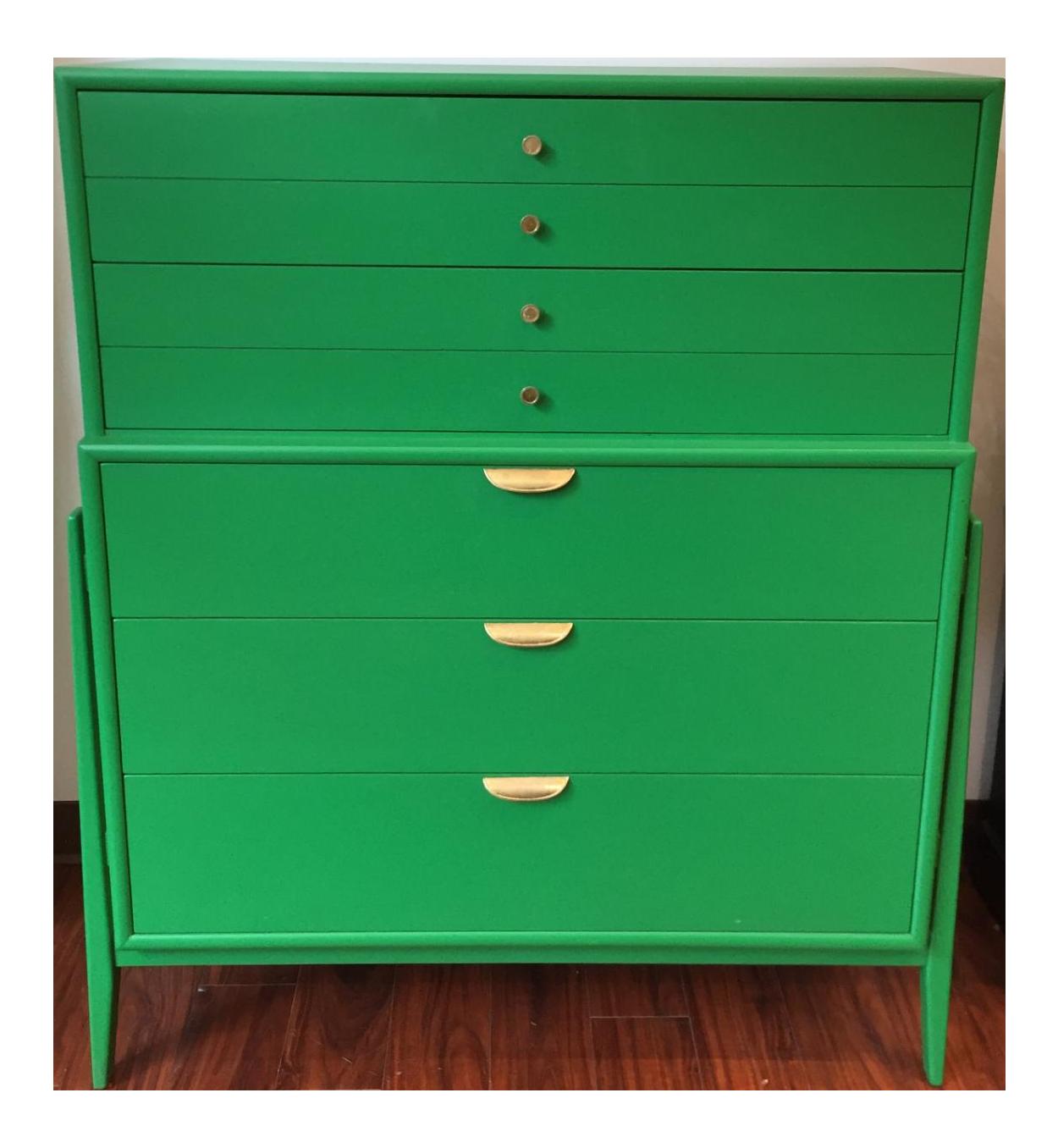 green midcentury modern dresser