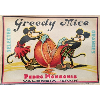 'Greedy Mice' Orange Crate Label