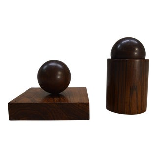 Hillerod-Denmark Magnetic Rosewood Desk Accessories - A Pair