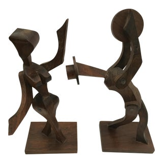Modern Abstract Female Male Sculpture Dancers - A Pair