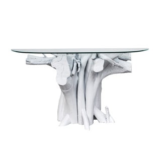 Vintage White Lacquered Driftwood Console Table