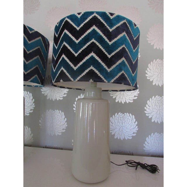 Image of Arteriors White Porcelain Table Lamps with Chevron Shades- A Pair