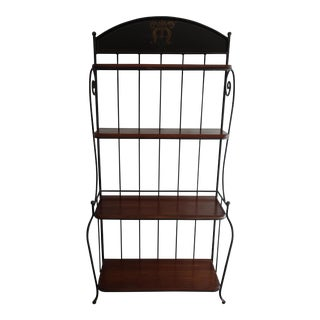 Iron Framed Baker's Rack with Walnut-Colored Wooden Shelves