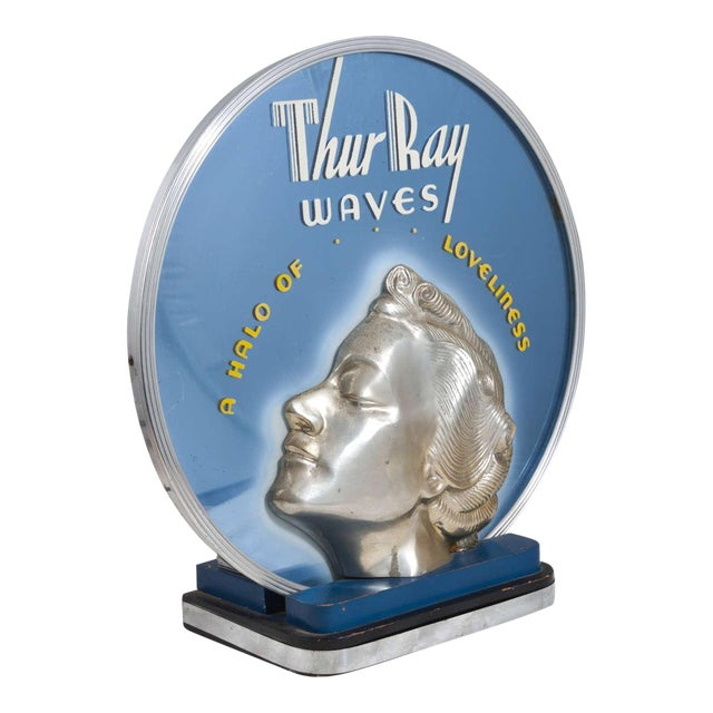 ON HOLD Original Art Deco Machine Age Lighted & Cobalt Mirrored Thur Ray 1940's Advertising Sign - Image 1 of 10