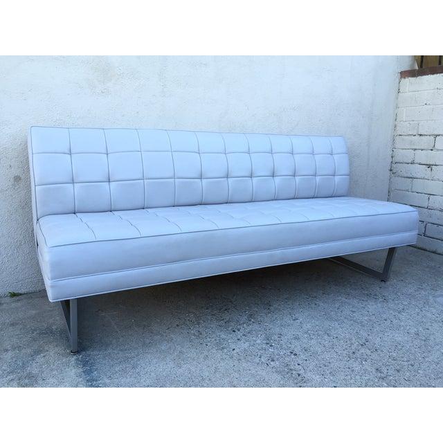 Modern Vinyl Chrome Legs Sofa - Image 3 of 10