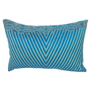 Chinese Turquoise Deco Embroidered Pillow