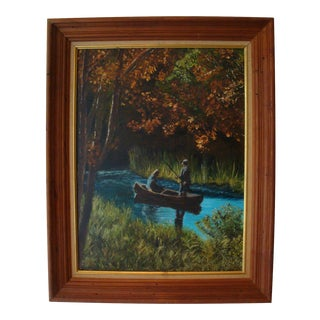 Vintage Summer Fishing Expedition Oil Painting