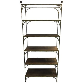 Maison Jansen Hollywood Regency Metal Bamboo Etagere