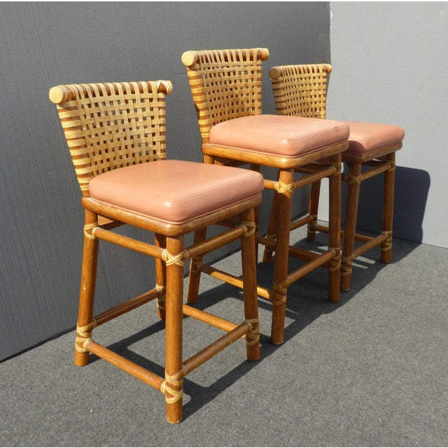 McGuire Bamboo Barstools with Laced Rawhide - Set of 3 - Image 4 of 11