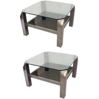 Lancel Chrome and Glass Side Tables - A Pair