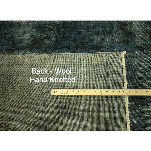 Irani Persian Blue Overdyed Wool Rug - 10'X13' - Image 8 of 8